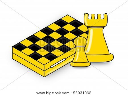 Chess, two pieces and chessboard