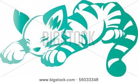 cute cartoon cat on white backgroundPrint