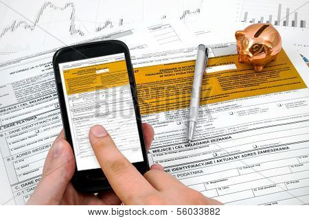 Man Hand Filling Polish Income Tax Form With Mobile Application