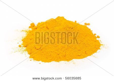 Turmeric Powder Pile On White