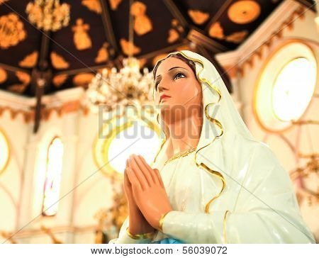 Statue Of Mary Praying In Profile