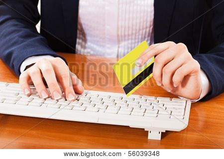 Woman shopping over internet online