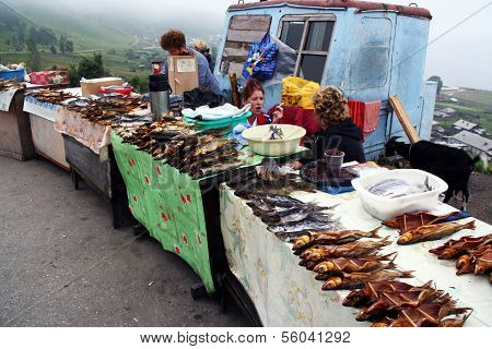 Roadside Stalls With Smoked Fish Including The Amous Baikal Omul Near Lake Baikal, Russia