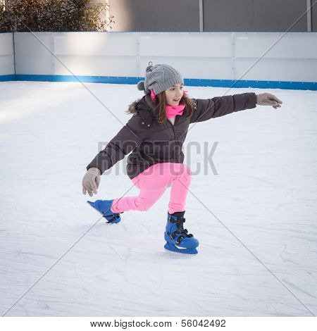 People Skating On Ice Rink In Milan, Italy