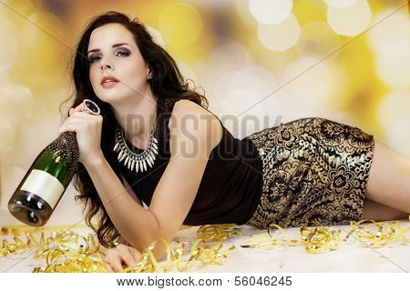 Beautiful Young Woman Partying With Champagne
