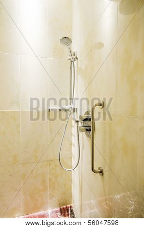 Interior of bathroom with shower
