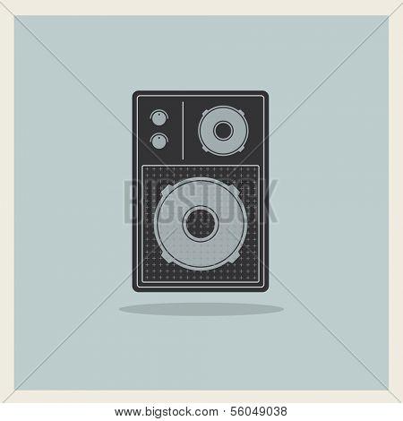 Retro Loudspeaker on blue background, vector
