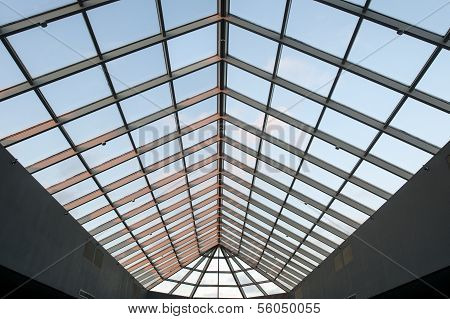Skylight Ceiling At Dusk In Commercial Office Building