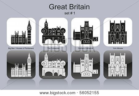 Landmarks of Great Britain. Set of monochrome icons. Editable vector illustration.