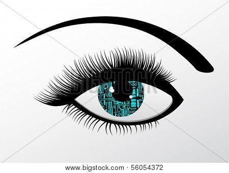 Robotic eye futuristic concept