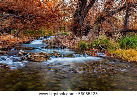 Waterfalls and Beautiful Fall Foliage On The Guadalupe River, Texas.