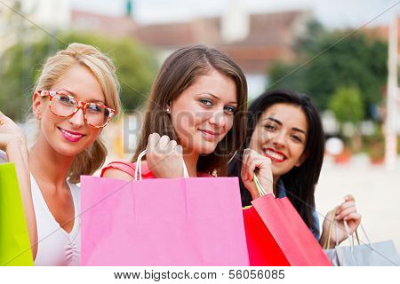 Happy Women Love Shopping Together