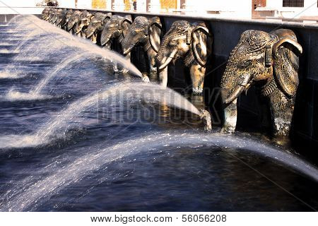 Elephants Water Fountain At Hindu Temple