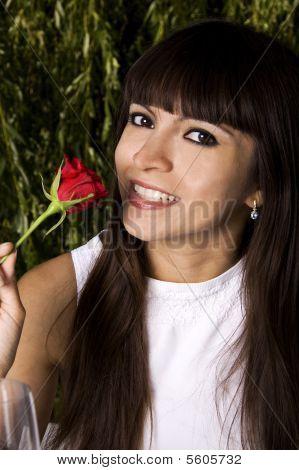 Brunette With Rose