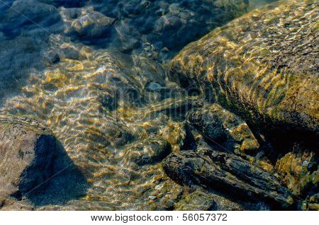 Underwater Reflection Of Sand, Stones And Rocks