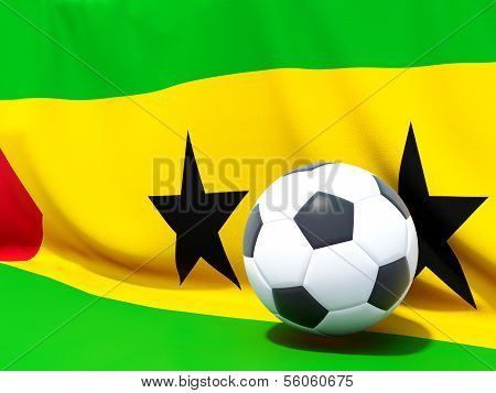 Flag Of Sao Tome And Principe With Football In Front Of It