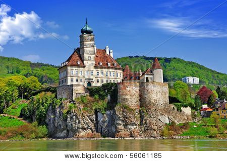 Austria scenery, old abbey castle on Danube