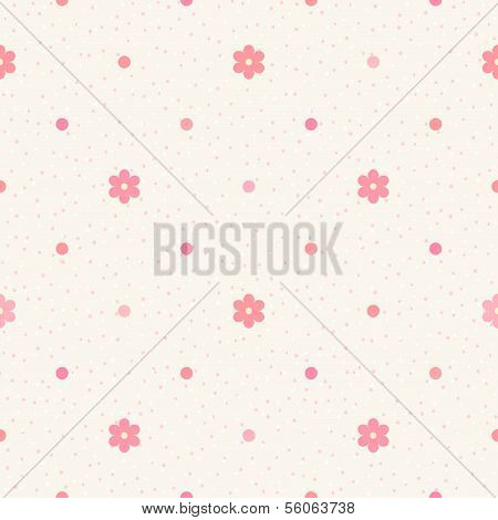Retro Seamless Pattern. Pink Flowers And Dots On Beige Background