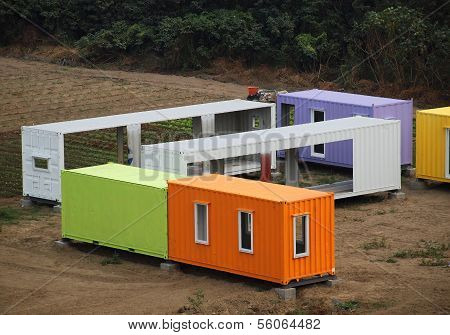 Colorful Container Houses Are Assembled