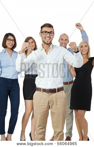 Successful Business Team Cheering