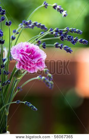 Carnation and Lavender Flower Bouquet