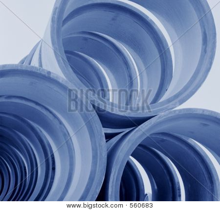 Picture or Photo of Blue tint image of concrete pipes