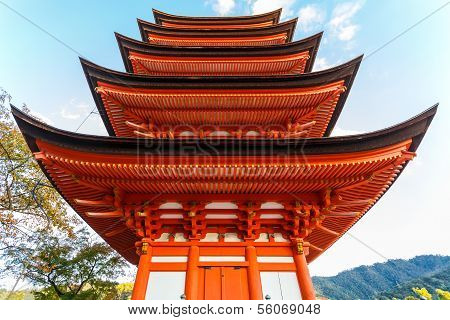 Five-storied pagoda at Toyokuni Shrine in Miyajima Island