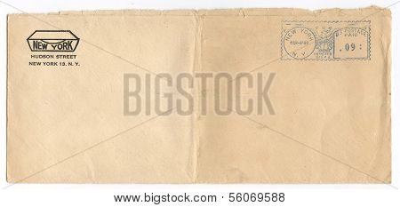 US - CIRCA 1949: Vintage envelope postmarked 4 Mar 1949, New York, New York, circa 1949