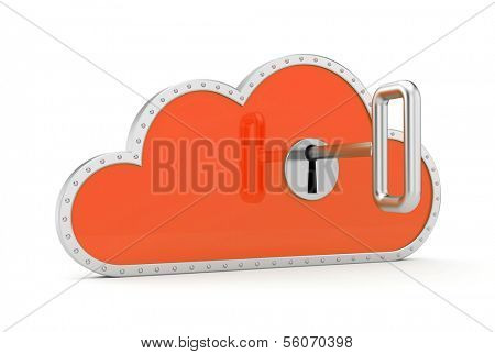 Cloud and key. Secure metaphor.