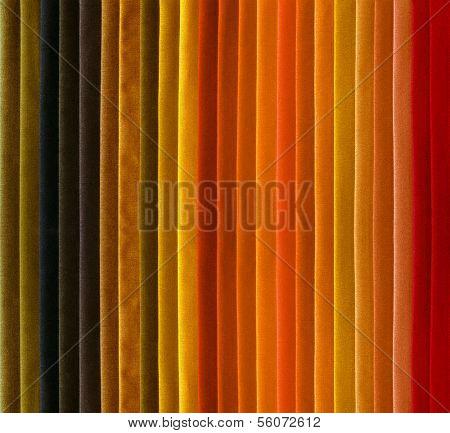 Color textile samples. Warm colors.