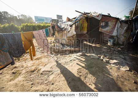 KATHMANDU, NEPAL - DEC 16: Illegal houses at slums in Tripureshwor district, Dec 16, 2013 in Kathmandu, Nepal. Caste of untouchables in Nepal, is about 7 % of population.