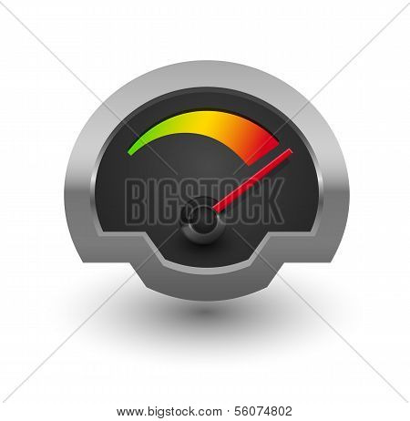 Chrome speedometer illustration.