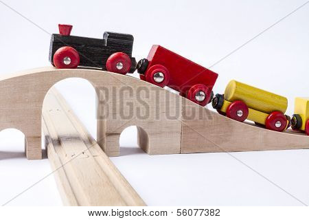 Wooden Toy Train On Bridge
