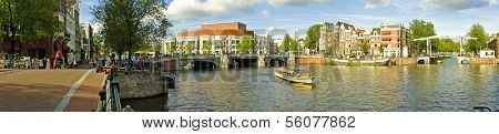 Panorama from Amsterdam inner city with the Amstel in the Netherlands