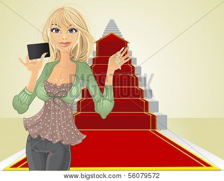 Sweet Girl With A Real Estate Agent Keys On Beginning The Road To Success On The Career Ladder.j