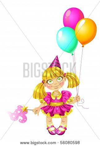 Little fairy with baloons