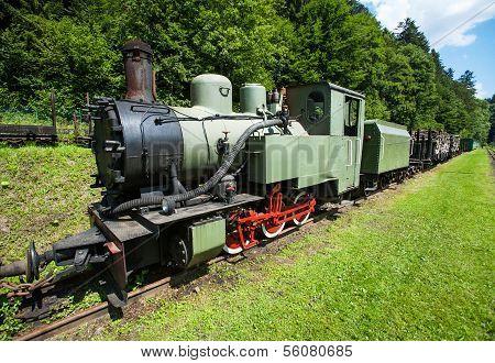 Narrow-gauge railway, steam train in Cisna, Poland