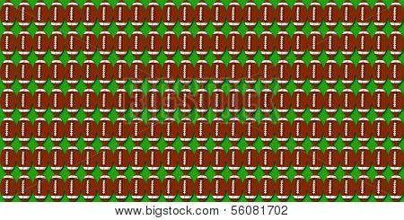 Football pigskin illustration on green background