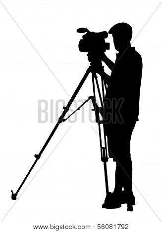 Silhouette Of Movie Cameraman