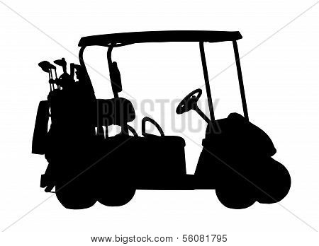 Silhouette Of Golf Cart