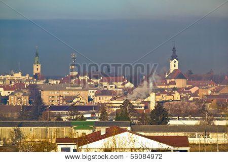 Town Of Bjelovar Winter Skyline