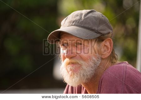 Closeup Homeless Man