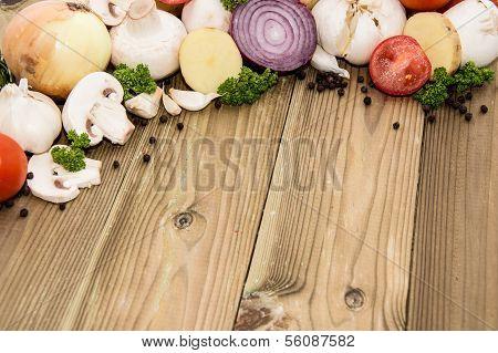 Heap Of Vegetables On Wood