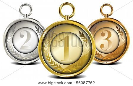 set of medals with laurel wreath and placing numbers, eps10