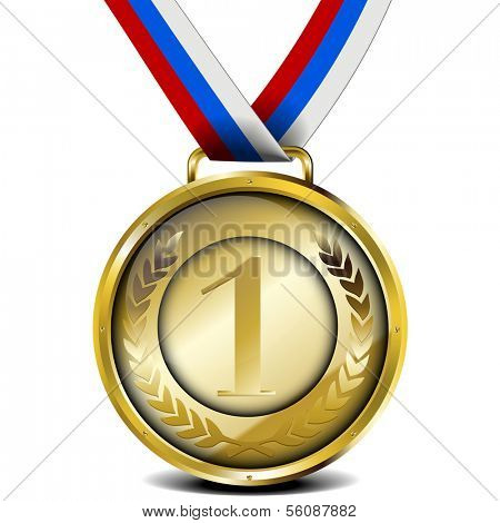 illustration of a ribboned golden medal with laurel wreath and number, eps10