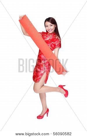 Happy Woman Holding Blank Red Couplets