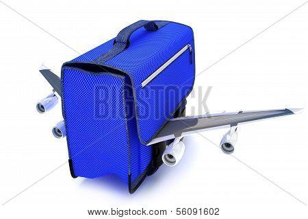 Traveling blue suitcase