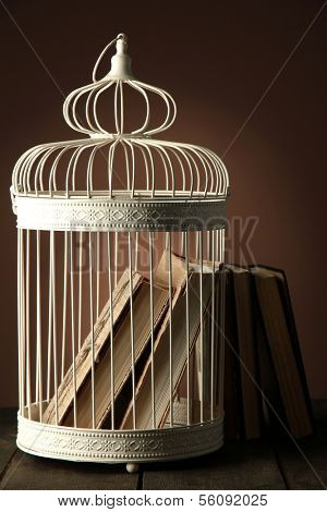 Books in decorative cage on wooden table, brown on background