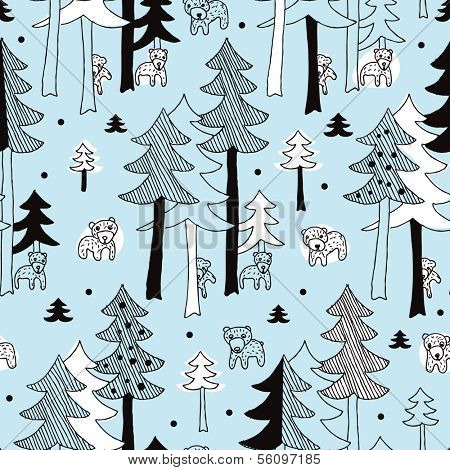 Seamless winter grizzly bear in pine tree forest illustration background pattern in vector