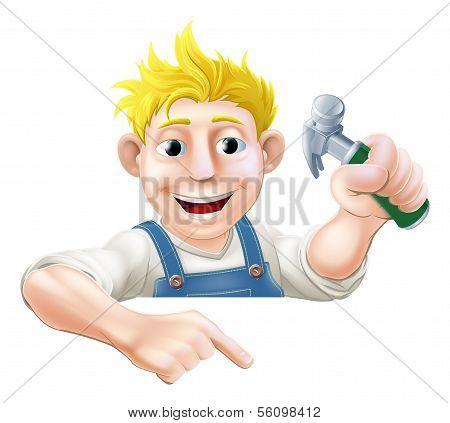 Cartoon Worker with Hammer